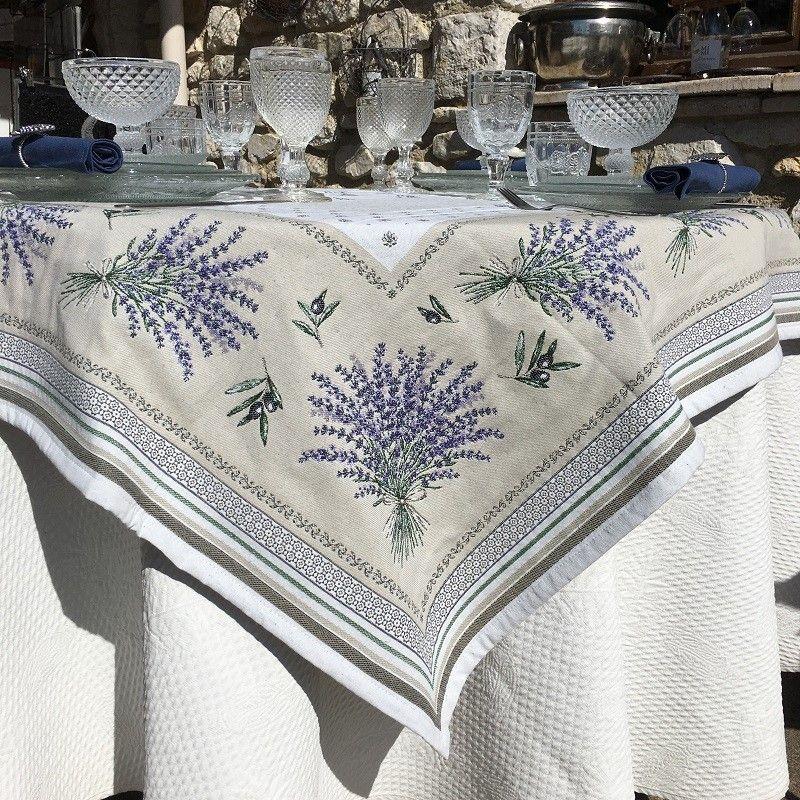 Jacquard Webbed Tablecloth Lavandes Et Olives Quot Castillon