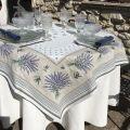"Rectangular Jacquard tablecloth, Lavandes et Olives ""Castillon"""