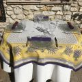 "Rectangular Jacquard tablecloth  Lavandes et Olives ""Castillon"" yellow and lavande, by Marat d'Avignon"