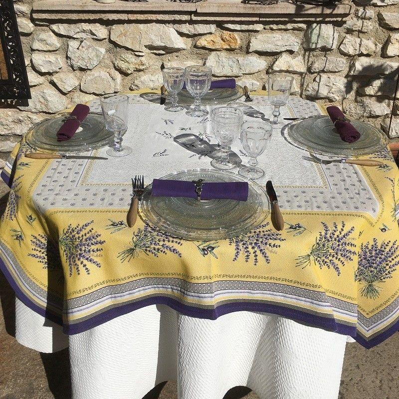 """Nappe rectangulaire Jacquard lavandes et Olives """"Castillon""""  jaune et lavande"""