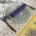"""Tapis de Table Lavandes et Olives """"Castillon""""  jaune et bleu"""
