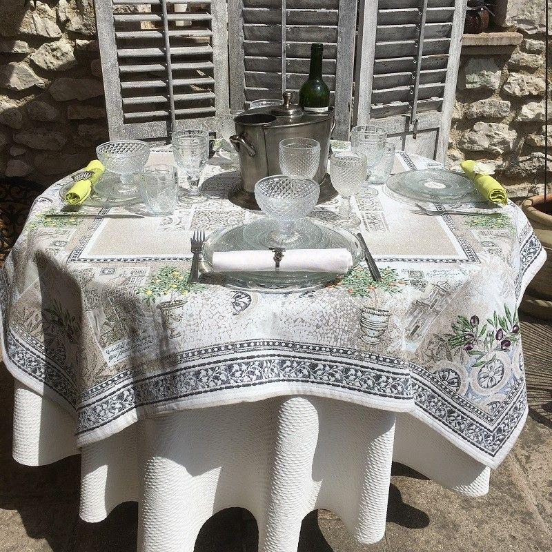 "Rectangular Jacquard tablecloth citronniers et orangers ""Riviera"""