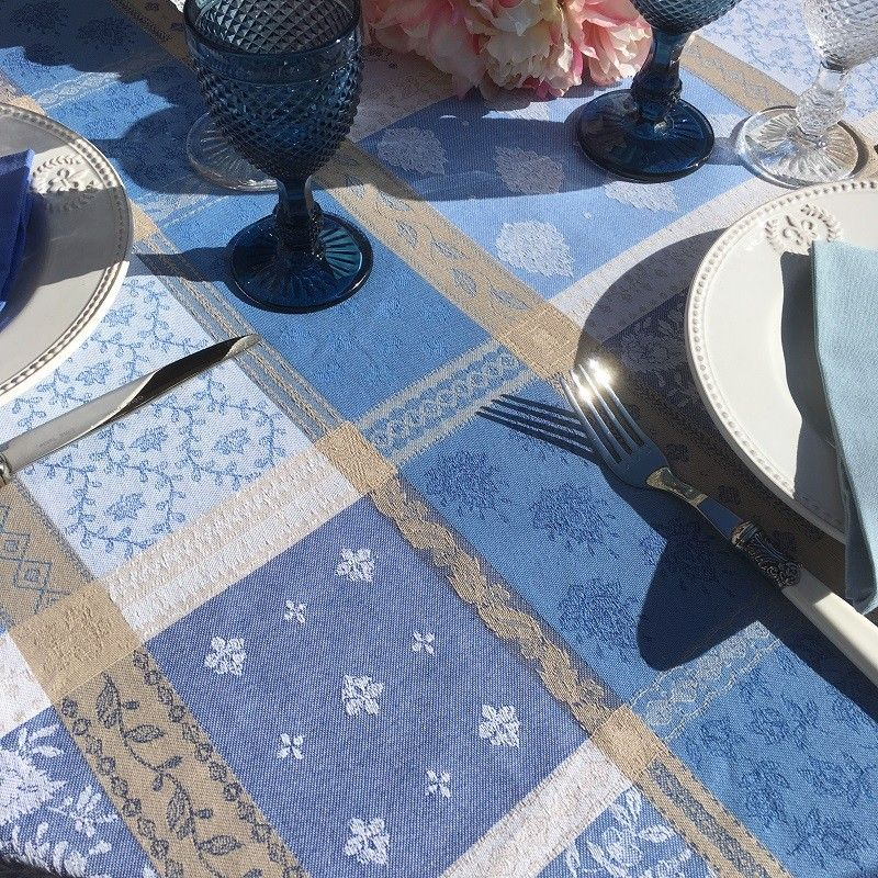 """Rectangular webbed Jacquard tablecloth, stain resistant """"Valescure"""" blue"""