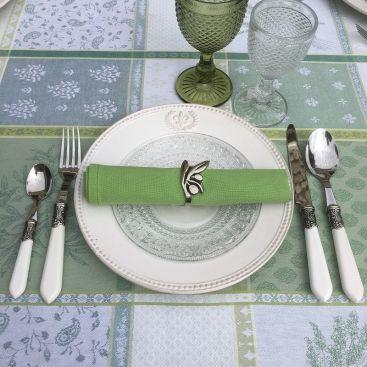 Couverts (Ménagère 48 pièces) inox et plastique blanc BAROQUE, Côté Table