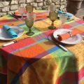 "Webbed Jacquard tablecloth, stain resistant ""Valescure"" multi-colored"