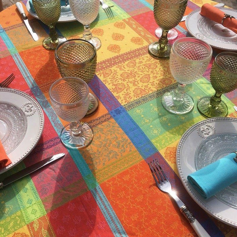 "Nappe rectangulaire Jacquard, anti-tâches ""Valescure""  Orange, turquoise"