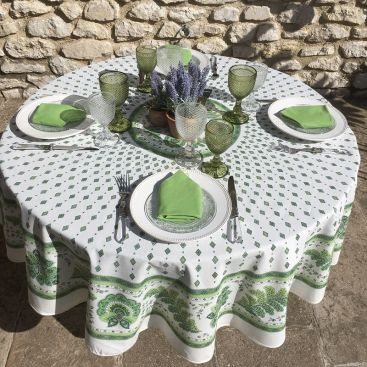 "Provence round tablecloth in cotton ""Mirabeau"" green"