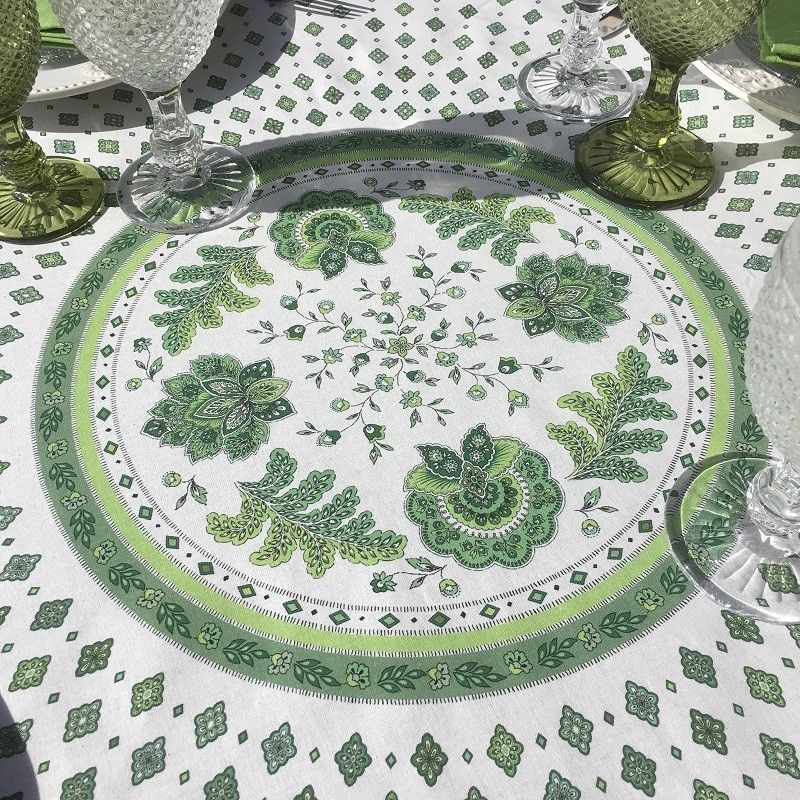 """Provence coated cotton round tablecloth """"Mirabeau"""" green"""