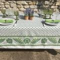 """Provence rectangular tablecloth in cotton """"Mirabeau"""" green"""