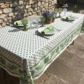 """Provence rectangular tablecloth in coated cotton """"Mirabeau"""" green"""