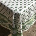 "Provence rectangular tablecloth in coated cotton ""Mirabeau"" green"