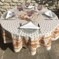 "Provence round tablecloth in cotton ""Mirabeau"" orange"