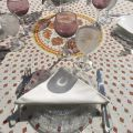 """Provence round tablecloth in cotton """"Mirabeau"""" orange"""