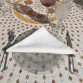 "Provence coated cotton round tablecloth ""Mirabeau"" orange"