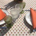 """Nappe provençale rectangulaire en coton enduit """"Mirabeau"""" orange"""