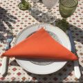 "Provence rectangular tablecloth in coated cotton ""Mirabeau"" orange"