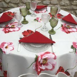 "Voile de table en Organza ""Coquelicots"", TISSUS TOSELLI"