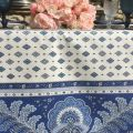 """Provence rectangular tablecloth in coated cotton """"Mirabeau"""" blue"""