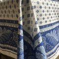 """Nappe provençale rectangulaire en coton enduit """"Mirabeau"""" bleue"""