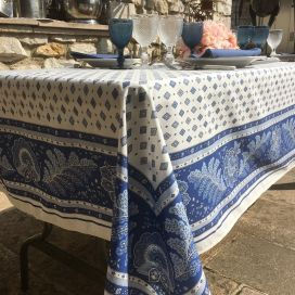 "Provence rectangular tablecloth in coated cotton ""Mirabeau"" blue"