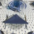 "Provence round tablecloth in cotton ""Mirabeau"" blue"