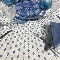 """Nappe provençale ronde en coton enduit """"Mirabeau""""  bleue"""