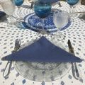 "Provence coated cotton round tablecloth ""Mirabeau"" blue"