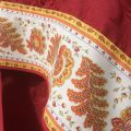 "Rectangular damask Jacquard tablecloth Delft red, bordure ""Mirabeau"" Orange"
