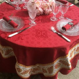 "Damask Jacquard tablecloth  : Delft red, bordure ""Mirabeau"" Orange"