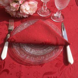 "Damasked Jacquard table napkin ""Delft"" Red"