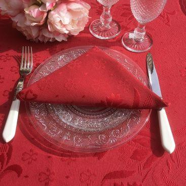 """Serviette de table damassée """"Delft"""" rouge"""