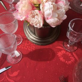 """Jacquard round tablecloth, cotton and polytester """"Delft"""" red"""