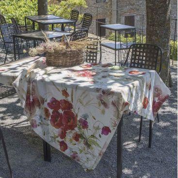 "Tessitura Toscana Telerie, nappe en lin  ""Coquelicots"""