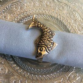 """Rond de serviette en métal argenté """"Poisson"""""""