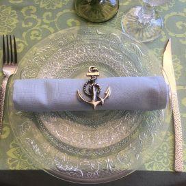 """Rond de serviette en métal argenté """"Ancre"""""""