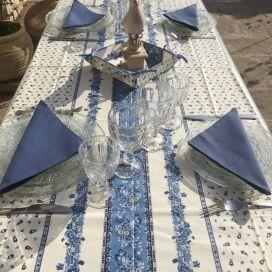 """Nappe provençale carrée ou rectangulaire en coton enduit """"Tradition"""" bleue et blanche Marat d'Avignon"""