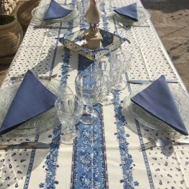 """Nappe provençale rectangulaire en coton enduit """"Tradition"""" bleue et blanche Marat d'Avignon"""