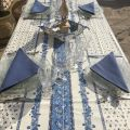 """Provence square or rectangular coated cotton tablecloth """"Tradition"""" blue and white by """"Marat d'Avignon"""""""