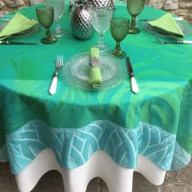 "Webbed Jacquard tablecloth ""Balata"" Green, by TISSUS TOSELLI, Nice"