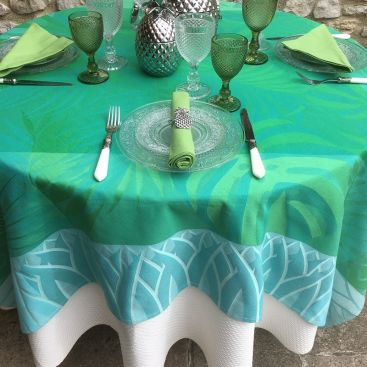 "Rectangular webbed Jacquard tablecloth ""Balata"" Green, by TISSUS TOSELLI, Nice"