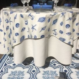 """Coated cotton tablecloth """"Seeshells"""", TISSUS TOSELLI NICE"""