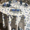 "Nappe en coton enduit ""Coquillages"", TISSUS TOSELLI NICE"