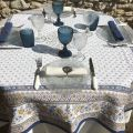 "Rectangular Jacquard tablecloth ""Mazan""  yellow and blue by Tissus Toselli"