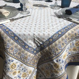 "Rectanuglar Jacquard tablecloth  ""Mazan"" yellow and blue by Tissus Toselli"