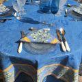 "Jacquard tablecloth ""Delft"" blue, bordure ""Clos des Oliviers"" blue"