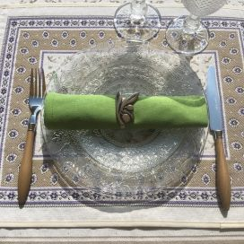 "Set de table Jacquard, Olives ""Luberon"" Tissus Toselli, Nice"