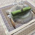 """Provence Jacquard placemat, Olives """"Lubéron"""" from Tissus Toselli in Nice"""