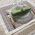"Set de table Jacquard, Olives ""Luberon"" Tissus Toselli, Nice"