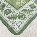 """Jacquard tablecloth  : Delft green, bordure """"Mirabeau"""" green"""
