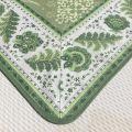 "Rectangular Jacquard tablecloth Delft green, bordure ""Mirabeau"" green"